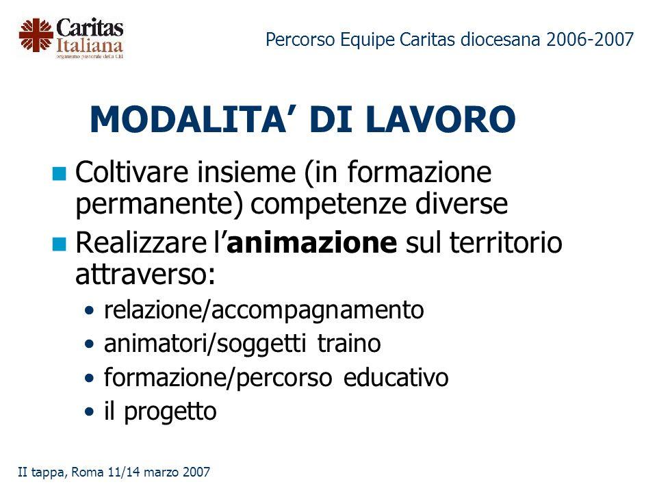 Percorso Equipe Caritas diocesana 2006-2007 II tappa, Roma 11/14 marzo 2007 MODALITA DI LAVORO Coltivare insieme (in formazione permanente) competenze