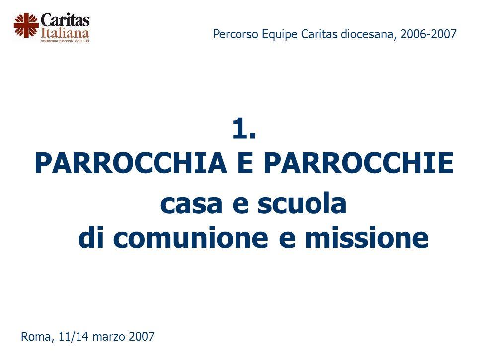 Percorso Equipe Caritas diocesana, 2006-2007 Roma, 11/14 marzo 2007 1. PARROCCHIA E PARROCCHIE casa e scuola di comunione e missione