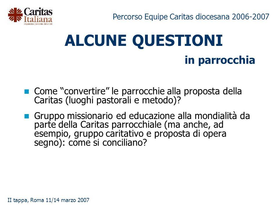 Percorso Equipe Caritas diocesana 2006-2007 II tappa, Roma 11/14 marzo 2007 ALCUNE QUESTIONI Come convertire le parrocchie alla proposta della Caritas