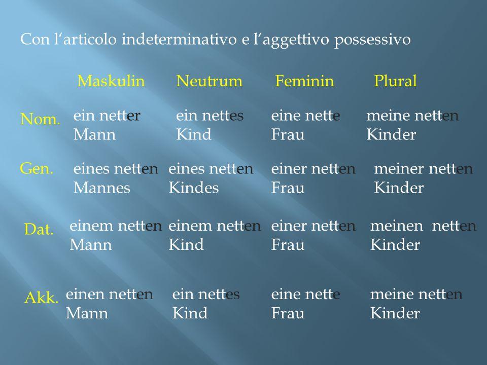 Con larticolo indeterminativo e laggettivo possessivo Maskulin Nom.