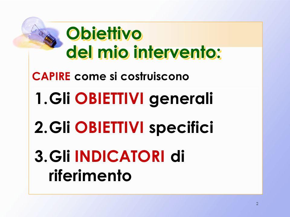 2 Obiettivo del mio intervento: 1.Gli OBIETTIVI generali 2.Gli OBIETTIVI specifici 3.Gli INDICATORI di riferimento CAPIRE come si costruiscono