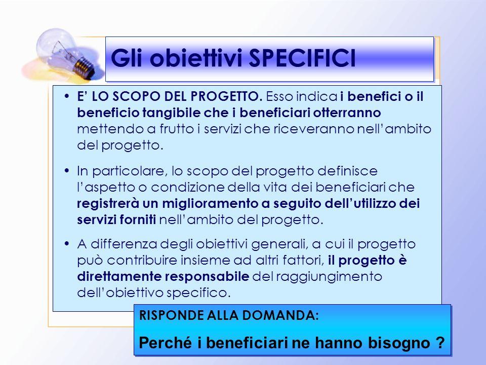 21 Gli obiettivi SPECIFICI E LO SCOPO DEL PROGETTO. Esso indica i benefici o il beneficio tangibile che i beneficiari otterranno mettendo a frutto i s