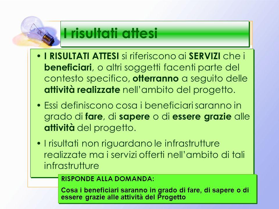 22 I risultati attesi I RISULTATI ATTESI si riferiscono ai SERVIZI che i beneficiari, o altri soggetti facenti parte del contesto specifico, otterranno a seguito delle attività realizzate nellambito del progetto.