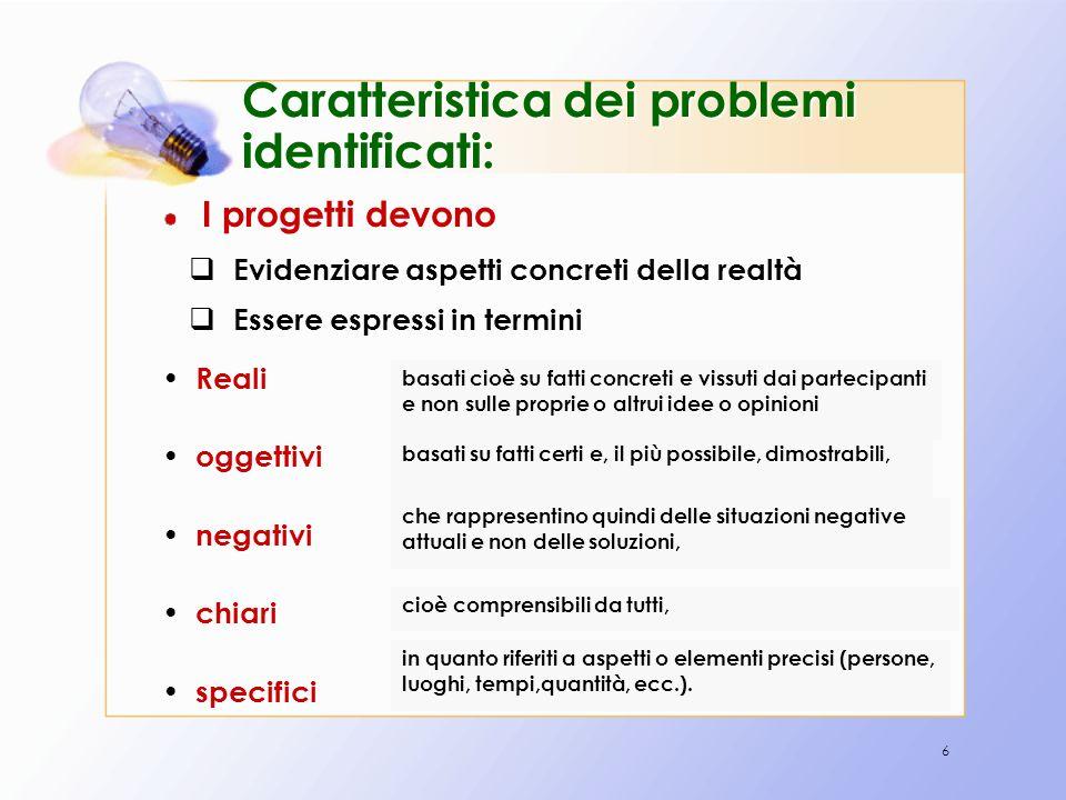 6 Caratteristica dei problemi identificati: I progetti devono basati cioè su fatti concreti e vissuti dai partecipanti e non sulle proprie o altrui id
