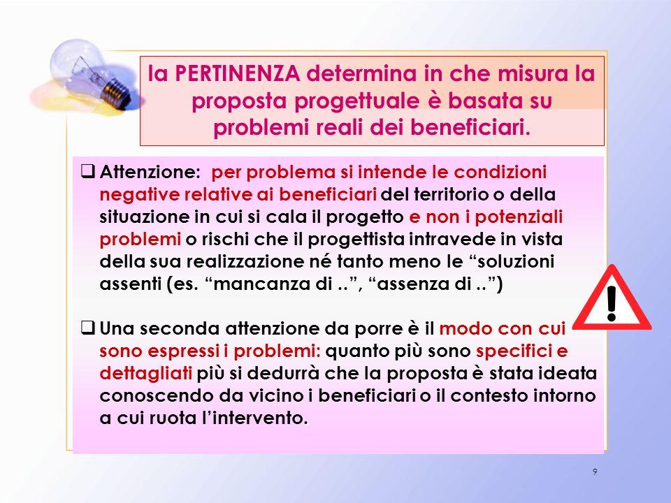 9 la PERTINENZA determina in che misura la proposta progettuale è basata su problemi reali dei beneficiari. Attenzione: per problema si intende le con