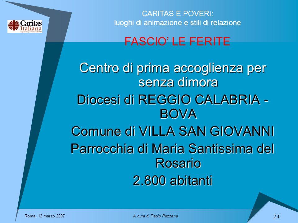 CARITAS E POVERI: luoghi di animazione e stili di relazione Roma, 12 marzo 2007A cura di Paolo Pezzana 24 FASCIO LE FERITE Centro di prima accoglienza