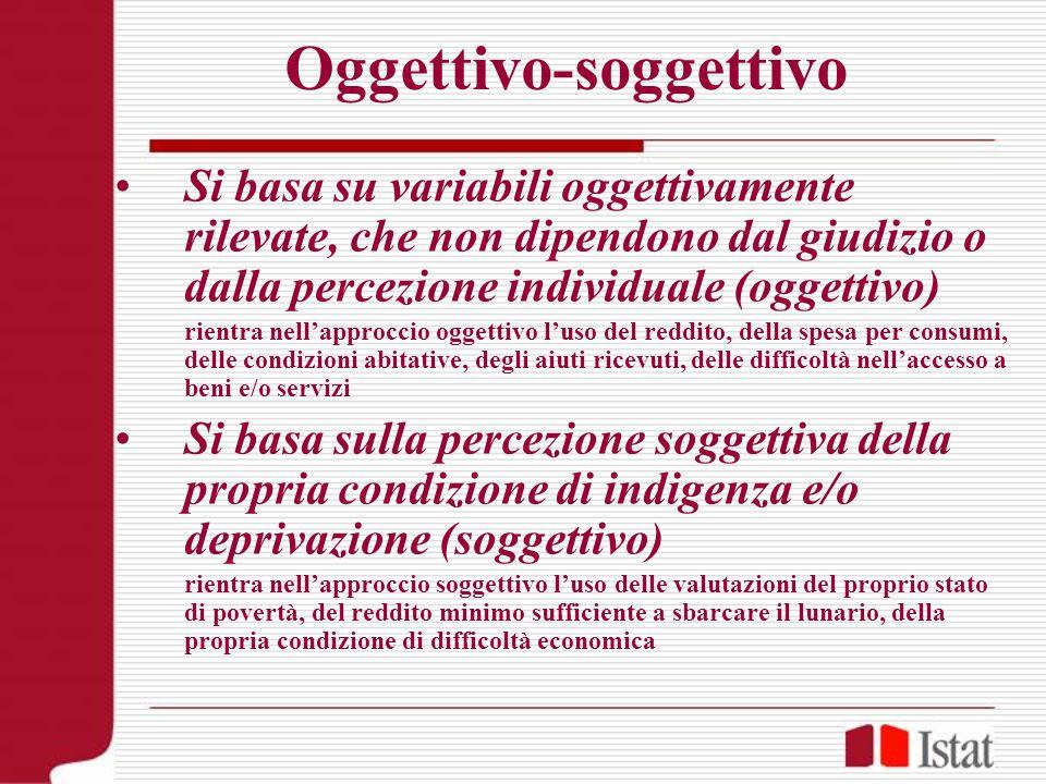 Oggettivo-soggettivo Si basa su variabili oggettivamente rilevate, che non dipendono dal giudizio o dalla percezione individuale (oggettivo) rientra n