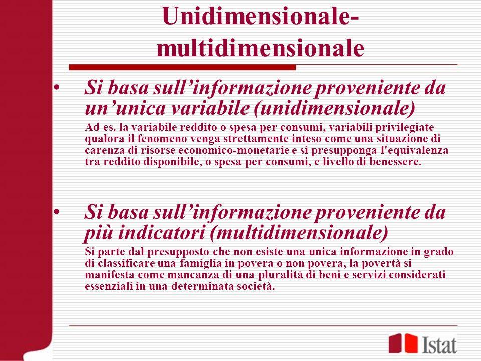 Unidimensionale- multidimensionale Si basa sullinformazione proveniente da ununica variabile (unidimensionale) Ad es. la variabile reddito o spesa per