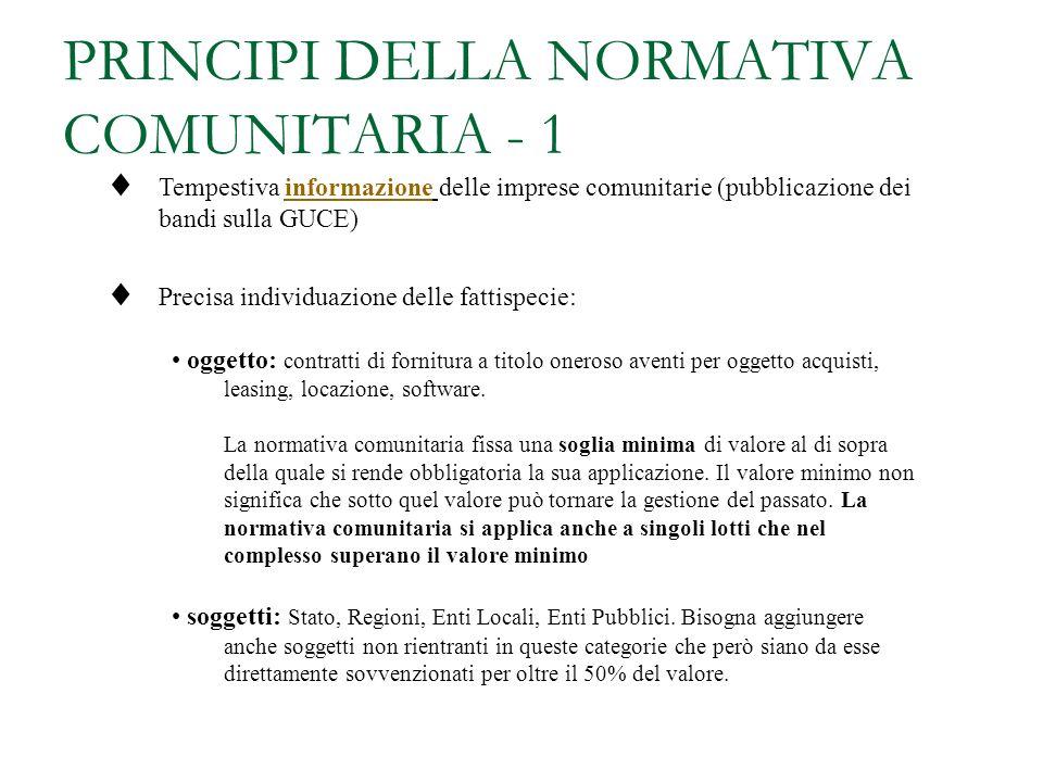 SISTEMA DELLE FONTI COMUNITARIE >> Fonti comunitarie Principali direttive in materia di Appalti pubblici di lavori (Dir. 93/37/CEE) Forniture (Dir. 93
