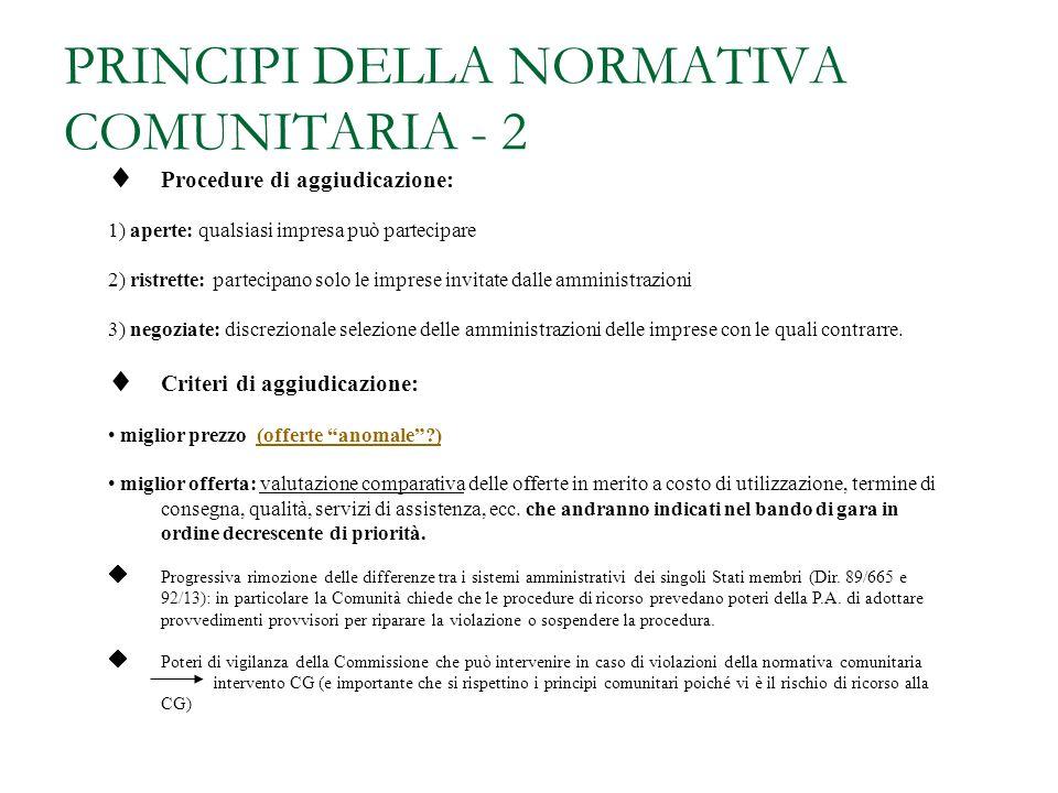 PRINCIPI DELLA NORMATIVA COMUNITARIA - 1 Tempestiva informazione delle imprese comunitarie (pubblicazione dei bandi sulla GUCE)informazione Precisa in
