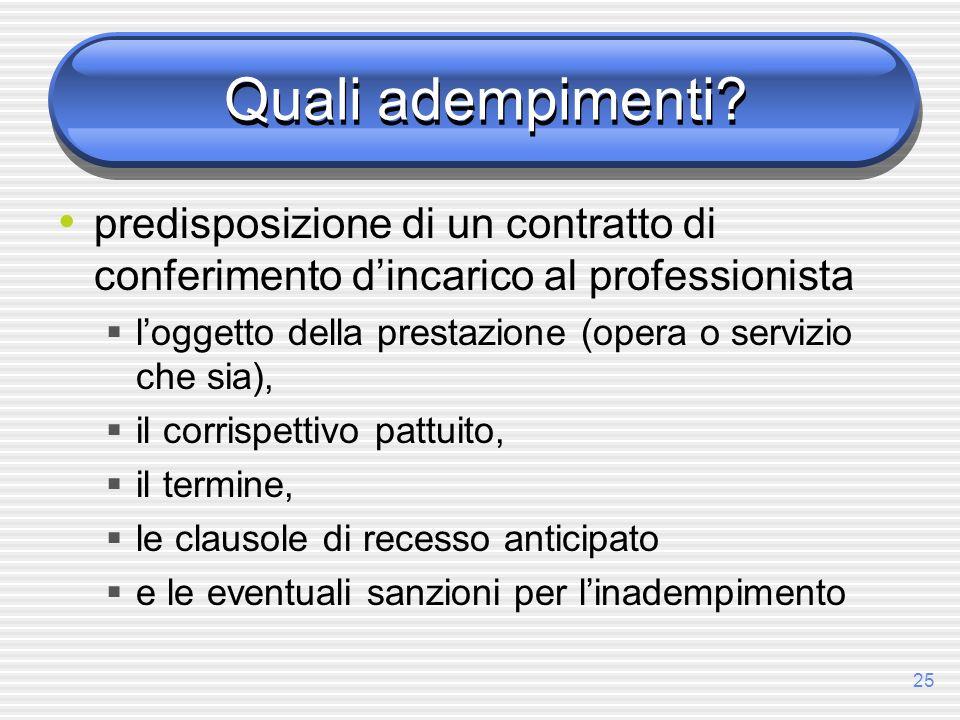25 Quali adempimenti? predisposizione di un contratto di conferimento dincarico al professionista loggetto della prestazione (opera o servizio che sia