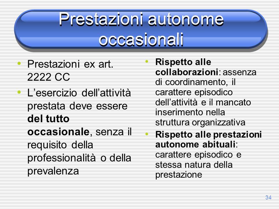 34 Prestazioni autonome occasionali Prestazioni ex art. 2222 CC Lesercizio dellattività prestata deve essere del tutto occasionale, senza il requisito