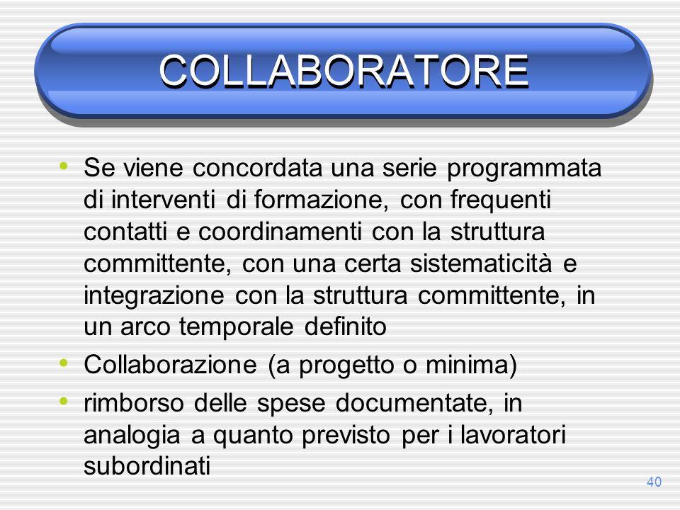 40 COLLABORATORE Se viene concordata una serie programmata di interventi di formazione, con frequenti contatti e coordinamenti con la struttura commit