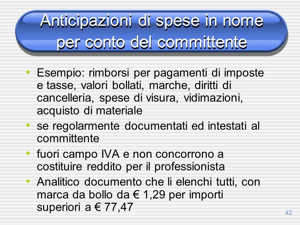 42 Anticipazioni di spese in nome per conto del committente Esempio: rimborsi per pagamenti di imposte e tasse, valori bollati, marche, diritti di can