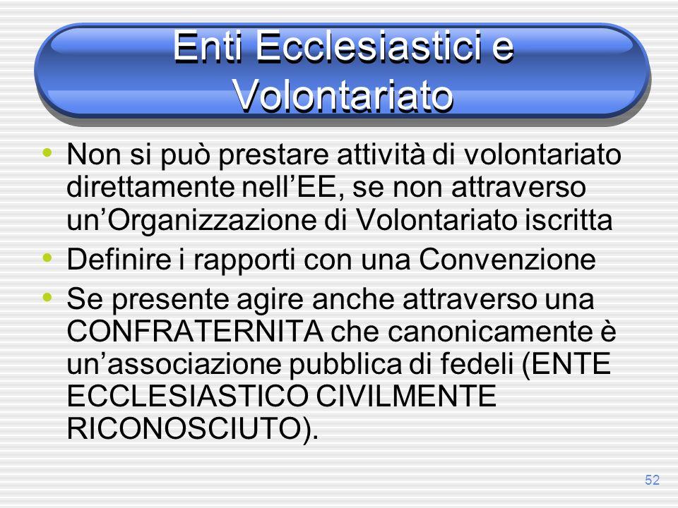 52 Enti Ecclesiastici e Volontariato Non si può prestare attività di volontariato direttamente nellEE, se non attraverso unOrganizzazione di Volontari
