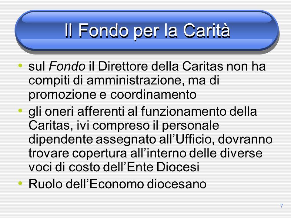 7 Il Fondo per la Carità sul Fondo il Direttore della Caritas non ha compiti di amministrazione, ma di promozione e coordinamento gli oneri afferenti