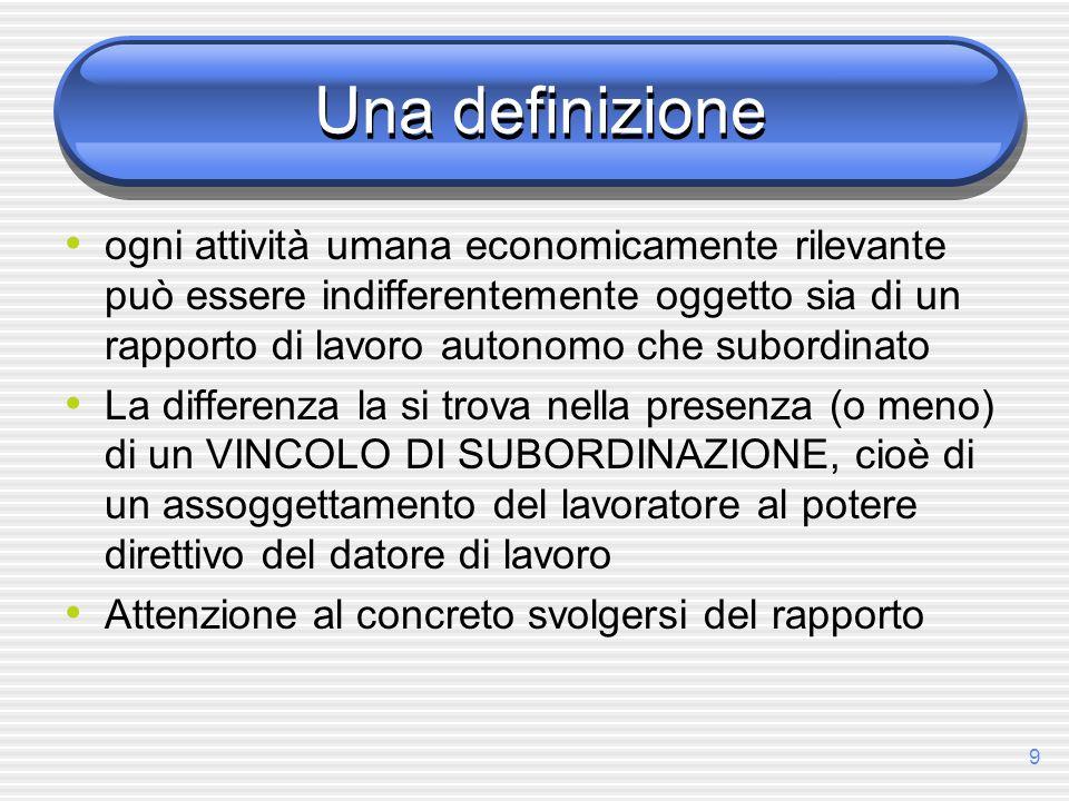 9 Una definizione ogni attività umana economicamente rilevante può essere indifferentemente oggetto sia di un rapporto di lavoro autonomo che subordin