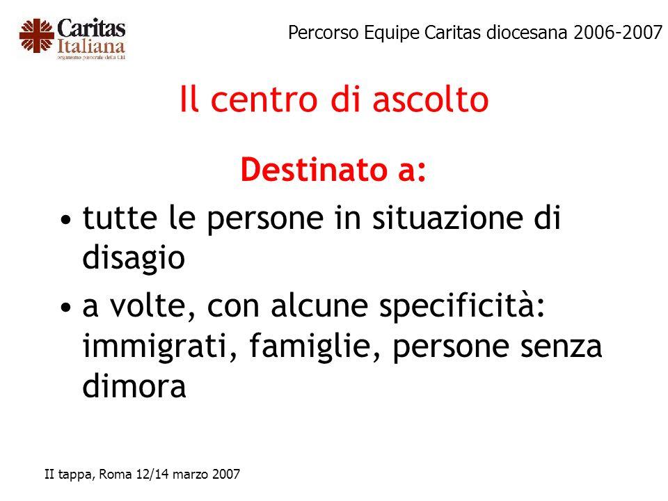 Percorso Equipe Caritas diocesana 2006-2007 II tappa, Roma 12/14 marzo 2007 Il centro di ascolto Destinato a: tutte le persone in situazione di disagi