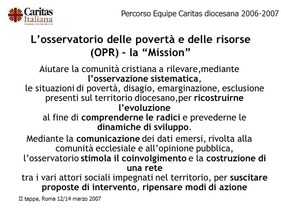 Percorso Equipe Caritas diocesana 2006-2007 II tappa, Roma 12/14 marzo 2007 Losservatorio delle povertà e delle risorse (OPR) – la Mission Aiutare la