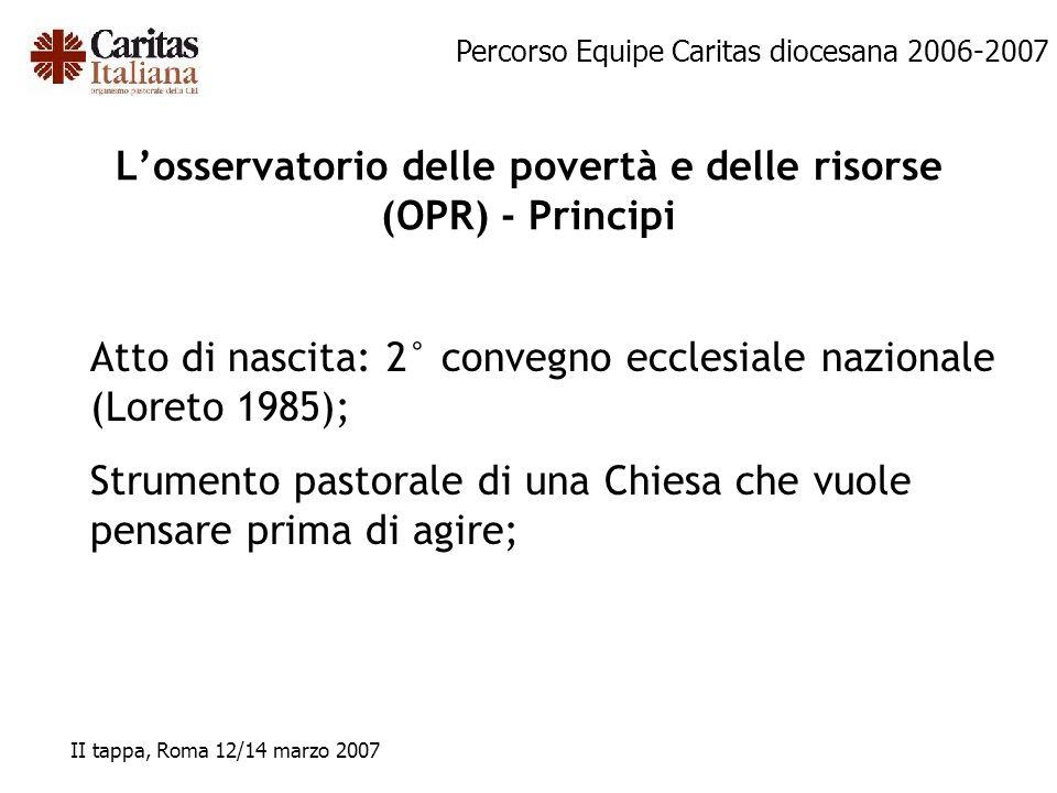 Percorso Equipe Caritas diocesana 2006-2007 II tappa, Roma 12/14 marzo 2007 Losservatorio delle povertà e delle risorse (OPR) - Principi Atto di nasci