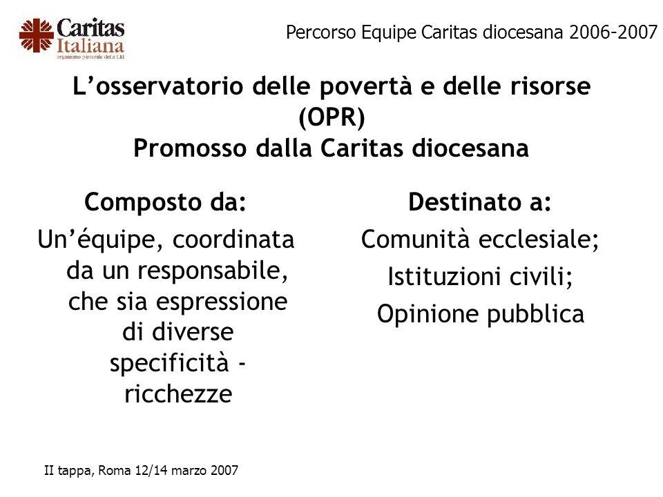 Percorso Equipe Caritas diocesana 2006-2007 II tappa, Roma 12/14 marzo 2007 Losservatorio delle povertà e delle risorse (OPR) Promosso dalla Caritas d
