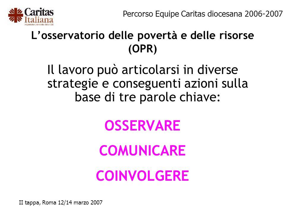 Percorso Equipe Caritas diocesana 2006-2007 II tappa, Roma 12/14 marzo 2007 Losservatorio delle povertà e delle risorse (OPR) Il lavoro può articolars