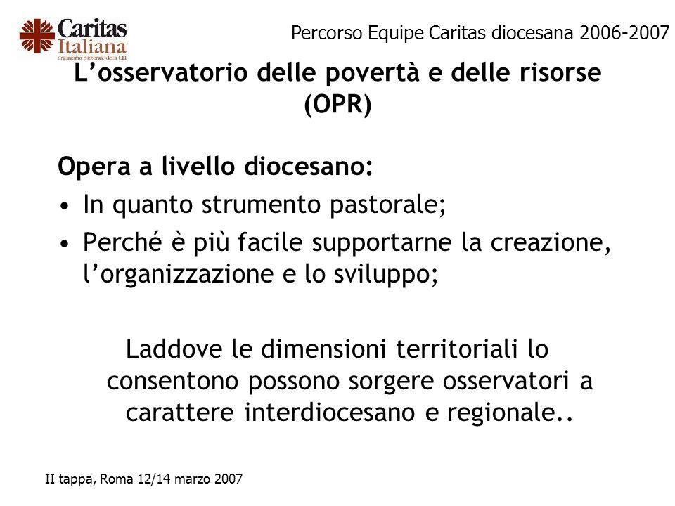 Percorso Equipe Caritas diocesana 2006-2007 II tappa, Roma 12/14 marzo 2007 Losservatorio delle povertà e delle risorse (OPR) Opera a livello diocesan