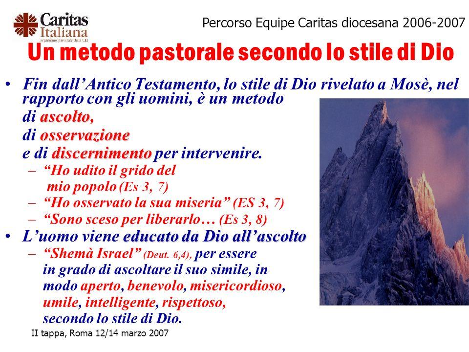 Percorso Equipe Caritas diocesana 2006-2007 II tappa, Roma 12/14 marzo 2007 Un metodo pastorale secondo lo stile di Dio Fin dallAntico Testamento, lo