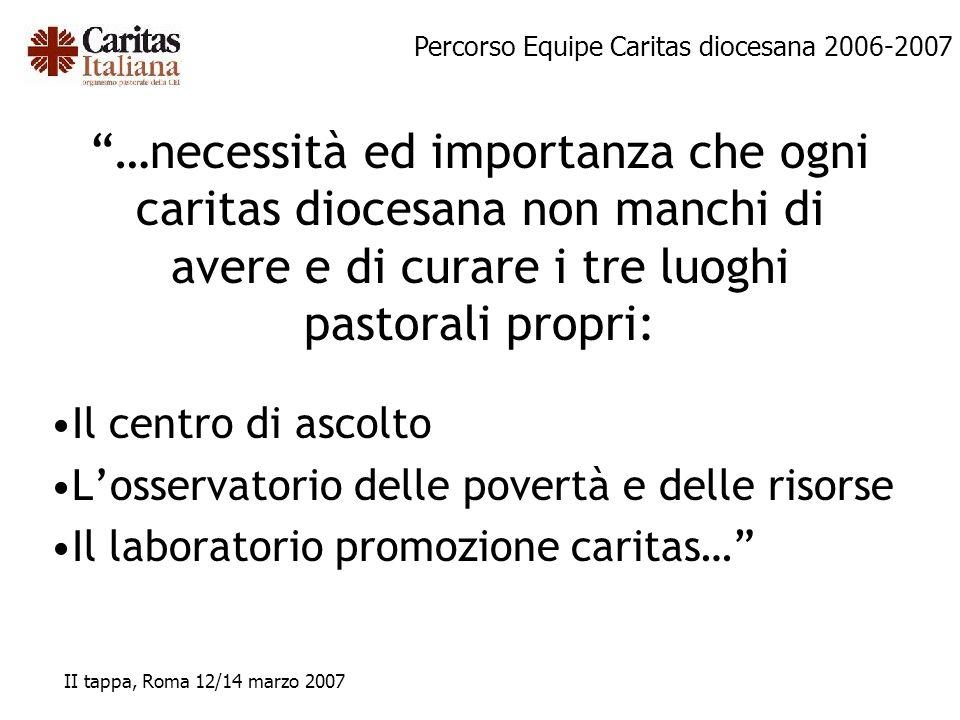 Percorso Equipe Caritas diocesana 2006-2007 II tappa, Roma 12/14 marzo 2007 …necessità ed importanza che ogni caritas diocesana non manchi di avere e