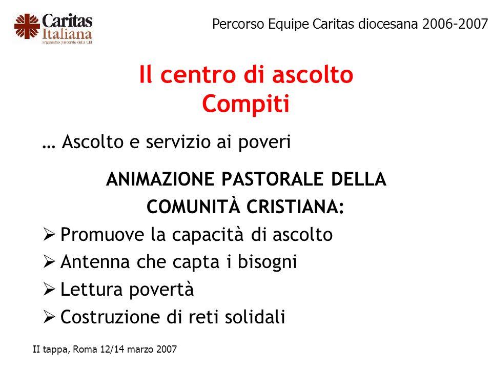 Percorso Equipe Caritas diocesana 2006-2007 II tappa, Roma 12/14 marzo 2007 … Ascolto e servizio ai poveri ANIMAZIONE PASTORALE DELLA COMUNITÀ CRISTIA
