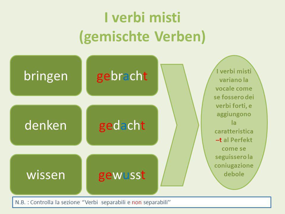 I verbi misti (gemischte Verben) bringengebracht denken wissengewusst gedacht I verbi misti variano la vocale come se fossero dei verbi forti, e aggiu