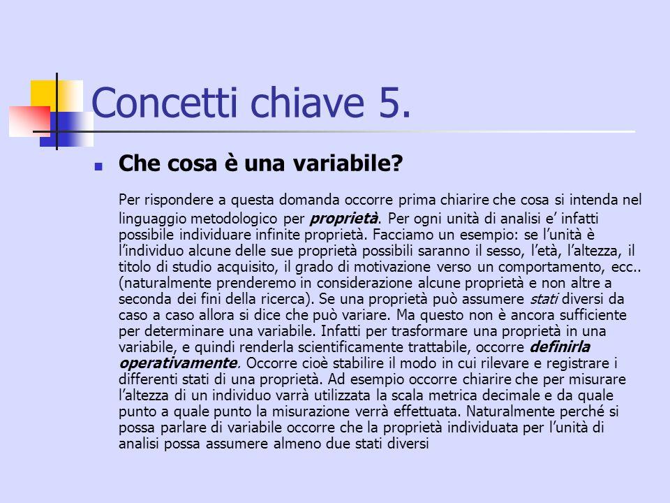 Concetti chiave 5. Che cosa è una variabile? Per rispondere a questa domanda occorre prima chiarire che cosa si intenda nel linguaggio metodologico pe