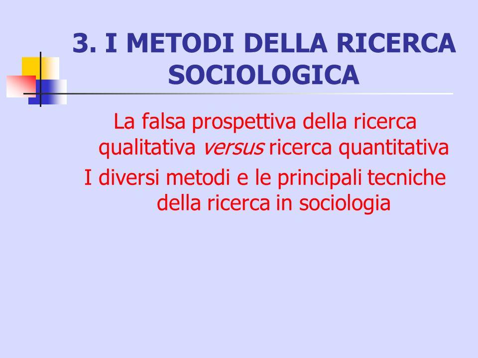 3. I METODI DELLA RICERCA SOCIOLOGICA La falsa prospettiva della ricerca qualitativa versus ricerca quantitativa I diversi metodi e le principali tecn