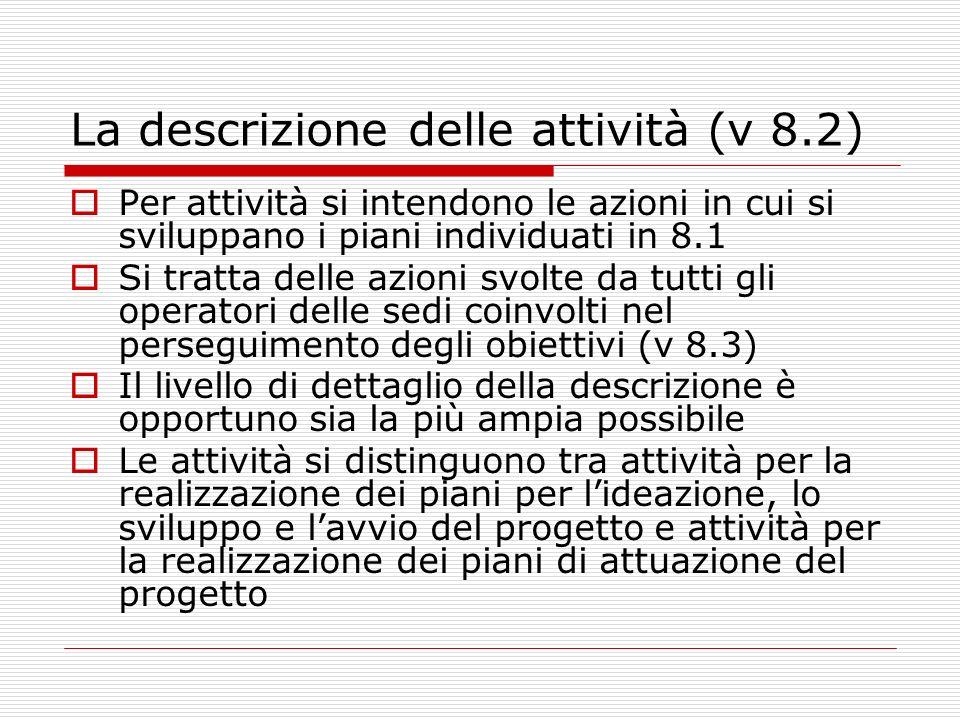 La descrizione delle attività (v 8.2) Per attività si intendono le azioni in cui si sviluppano i piani individuati in 8.1 Si tratta delle azioni svolt