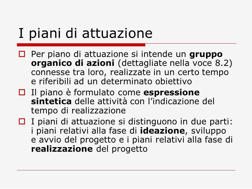 I piani di attuazione Per piano di attuazione si intende un gruppo organico di azioni (dettagliate nella voce 8.2) connesse tra loro, realizzate in un