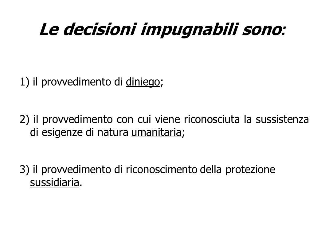 Le decisioni impugnabili sono : 1) il provvedimento di diniego; 2) il provvedimento con cui viene riconosciuta la sussistenza di esigenze di natura umanitaria; 3) il provvedimento di riconoscimento della protezione sussidiaria.