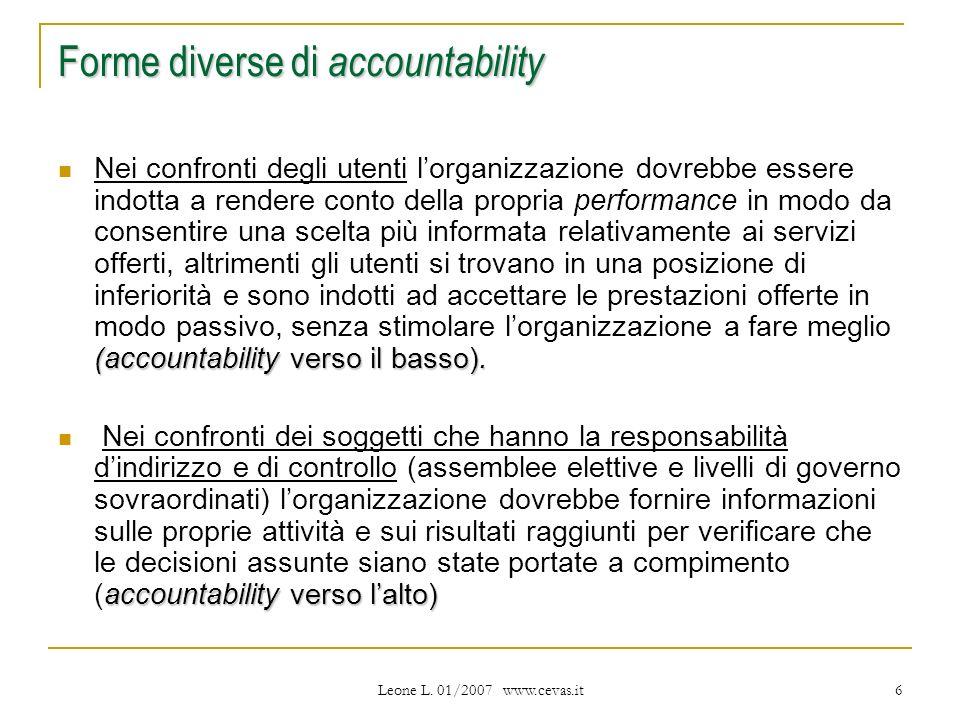 Leone L. 01/2007 www.cevas.it 6 Forme diverse di accountability (accountability verso il basso).