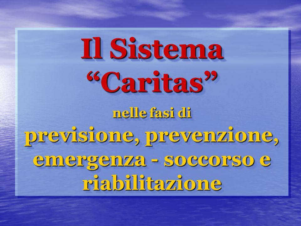 Il Sistema Caritas nelle fasi di previsione, prevenzione, emergenza - soccorso e riabilitazione
