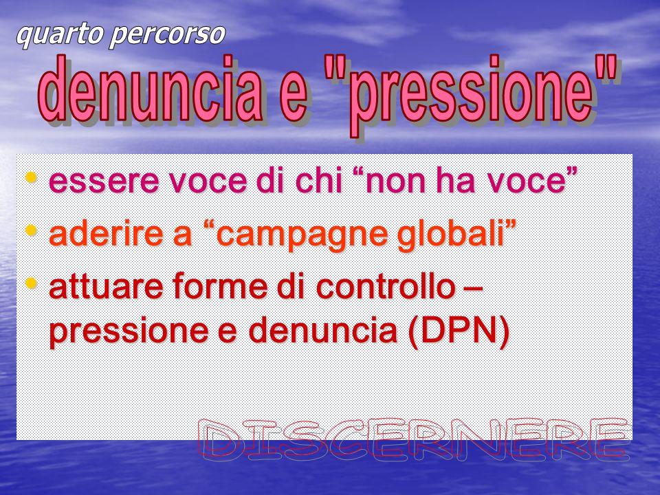 essere voce di chi non ha voce essere voce di chi non ha voce aderire a campagne globali aderire a campagne globali attuare forme di controllo – pressione e denuncia (DPN) attuare forme di controllo – pressione e denuncia (DPN)