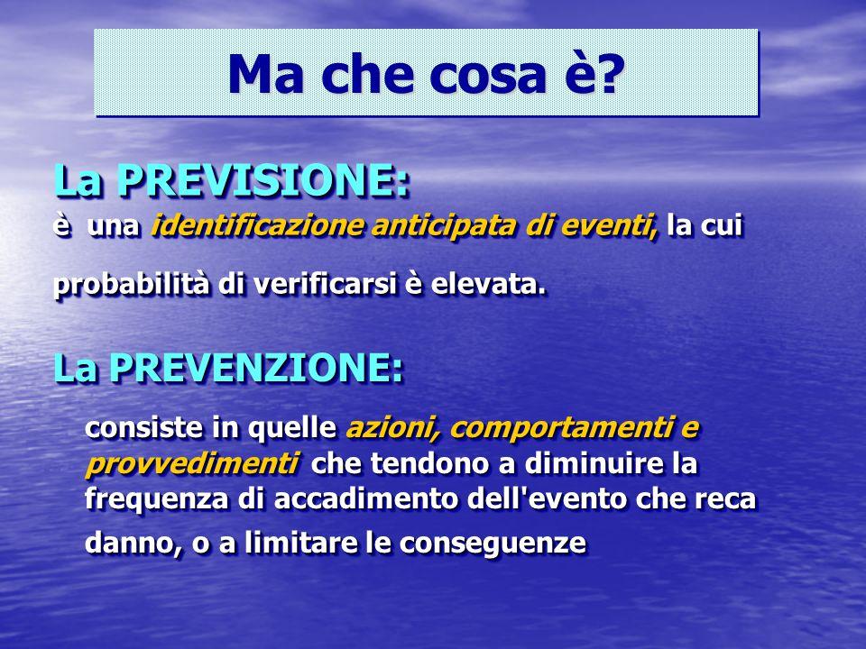 La PREVISIONE: è una identificazione anticipata di eventi, la cui probabilità di verificarsi è elevata.