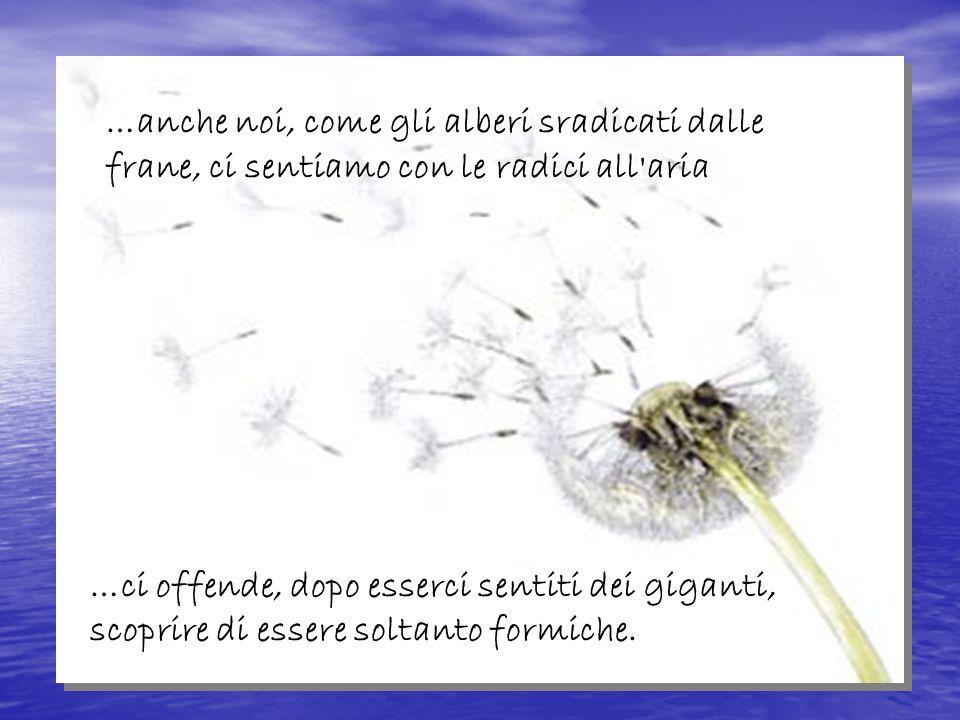 …anche noi, come gli alberi sradicati dalle frane, ci sentiamo con le radici all aria …ci offende, dopo esserci sentiti dei giganti, scoprire di essere soltanto formiche.
