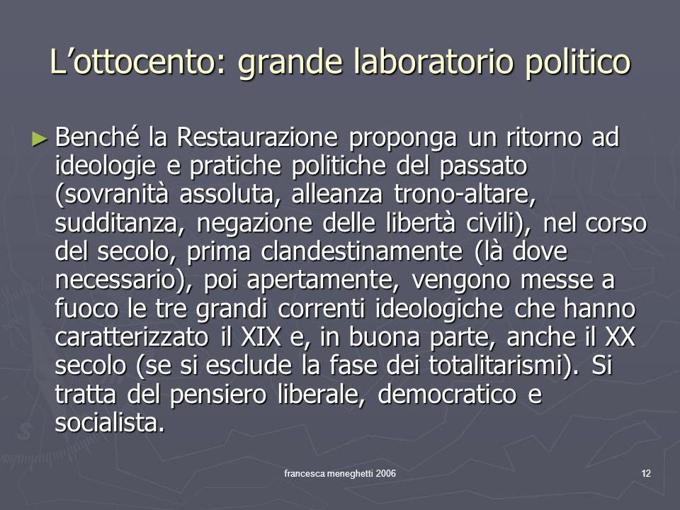 francesca meneghetti 200612 Lottocento: grande laboratorio politico Benché la Restaurazione proponga un ritorno ad ideologie e pratiche politiche del