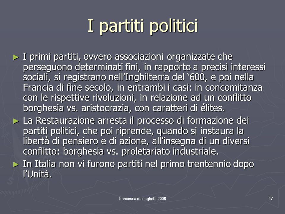 francesca meneghetti 200617 I partiti politici I primi partiti, ovvero associazioni organizzate che perseguono determinati fini, in rapporto a precisi