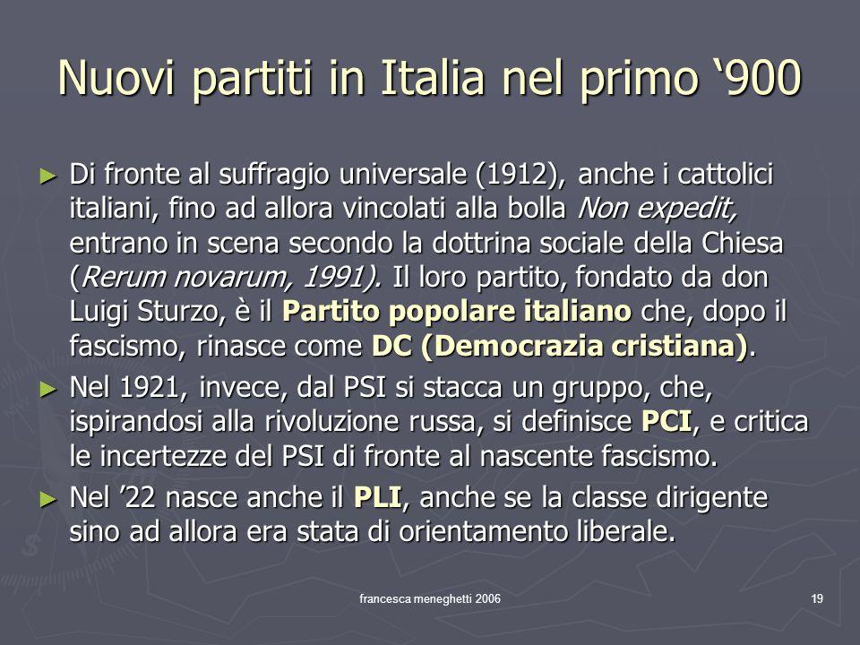 francesca meneghetti 200619 Nuovi partiti in Italia nel primo 900 Di fronte al suffragio universale (1912), anche i cattolici italiani, fino ad allora