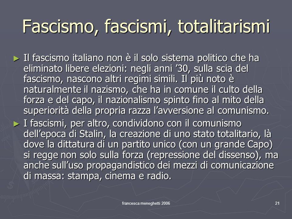 francesca meneghetti 200621 Fascismo, fascismi, totalitarismi Il fascismo italiano non è il solo sistema politico che ha eliminato libere elezioni: ne