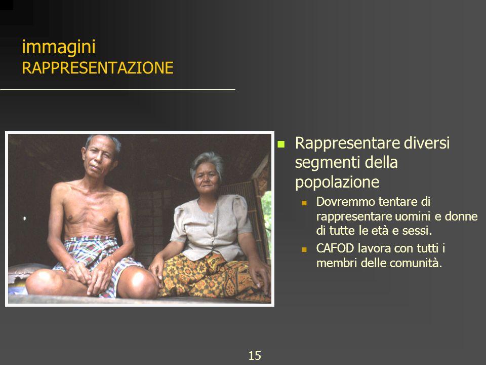 immagini RAPPRESENTAZIONE Rappresentare diversi segmenti della popolazione Dovremmo tentare di rappresentare uomini e donne di tutte le età e sessi.