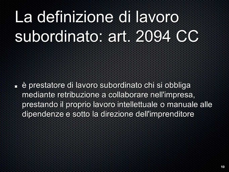 La definizione di lavoro subordinato: art.