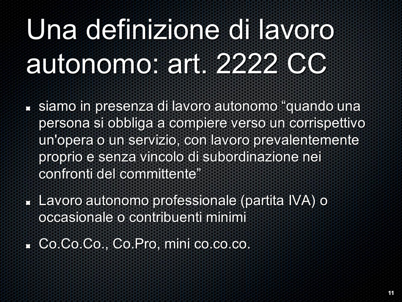 Una definizione di lavoro autonomo: art.