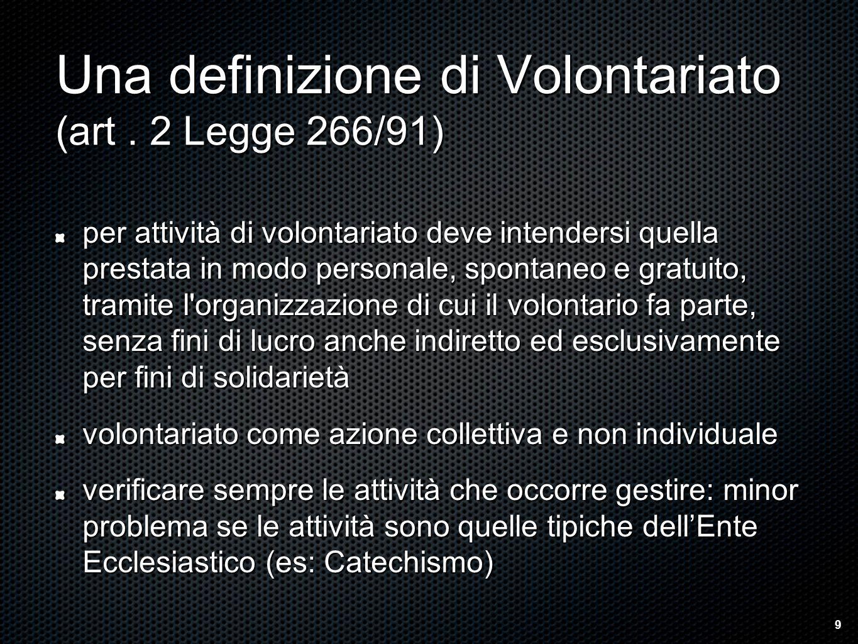 Una definizione di Volontariato (art.