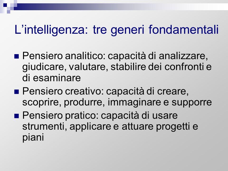 Lintelligenza: tre generi fondamentali Pensiero analitico: capacità di analizzare, giudicare, valutare, stabilire dei confronti e di esaminare Pensier